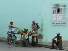A makeshift fruit and vegetable stand; Camaguey