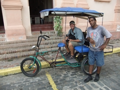 Robby and Alfredo, our hard working bici-taxi driver; Plaza del Carmen