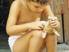 A young girl vigorously inspects her puppy for fleas; Plaza del Carmen