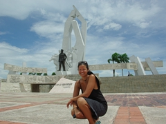 Becky strikes a pose at Camaguey's Plaza de la Revolution