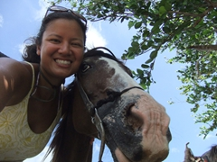 Becky taking a selfie with her gentle horse
