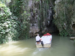 Our boat retreats into the inner cave system at Cuevo del Indios