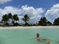Robby cooling off in the turquoise waters of Cayo Levisa