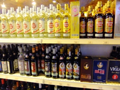Lots of Havana Club rum for sale at a liquor store; Cienfuegos