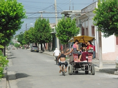 A bicyclist bums a free ride from a horse drawn cart; Cienfuegos