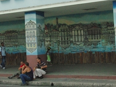 A wall mural catches our eye in Cienfuegos