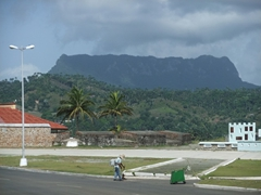 """The flat topped 575 m high table mountain of El Yunque (""""the anvil"""") with La Punta Fort in the foreground"""