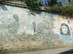 Che mural painted on a wall in Baracoa
