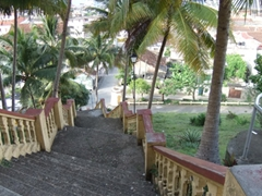The steep staircase of Hotel Castillo