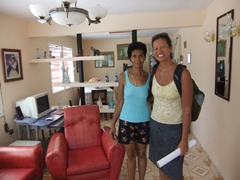 Posing next to Sol, our friendly casa owner in Baracoa