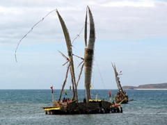 Replica of the giant Papuan trading canoes that once plied its trade off the coast, Hiri Moale Festival