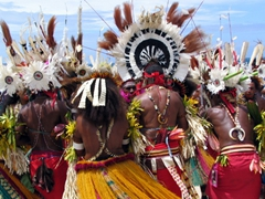 Colorful dancers at the Hiri Moale Festival; Port Moresby