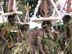 A coastal tribe practices for the Goroka show