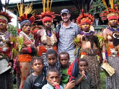 Robby poses with local Goroka tribe