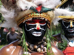 Close up of an intense Mount Hagen tribal male