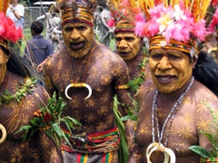 Star-patterned paint adorns this tribe's bodies