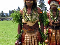 Goroka tribe taking a break between sing-sing performance