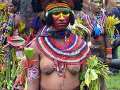 Very colorful attire, Goroka Show participant