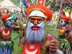 Close up of Mount Hagen tribal leader