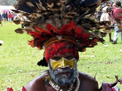 This performer made direct eye contact with us during his break; Goroka Highland show