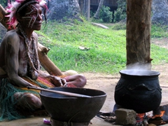 Tribal lady making Sago pudding...yummy