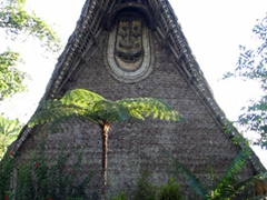 Gable mask outside of the main building of Karawari lodge