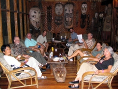 The wantok clan relaxing at the charming Karawari Lodge