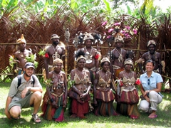 Robby & Becky pose with the Yapmul Flute Dancers after a great performance