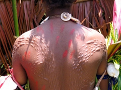 Young lady displays her scarification