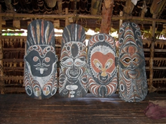 Traditional ancestral masks, interior of a haus tambaran, Blackwater Lakes