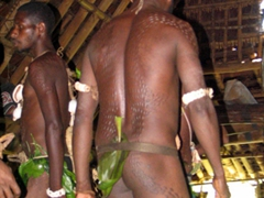 Spirit house dance (very sacred event reserved for celebration of boys reaching adulthood). Notice the scarifications on their backs and buttocks