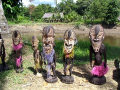 Carvings for sale at a village along the Karawari river