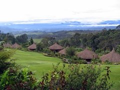 View over the bungalows of Ambua lodge