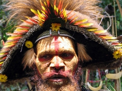 Huli wigman wearing his ceremonial wig