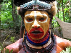 Profile of a mighty Huli Warrior
