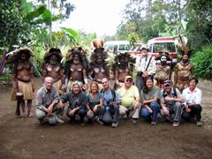 The Wantok Clan poses in front of the Spirit Dancers, Tari