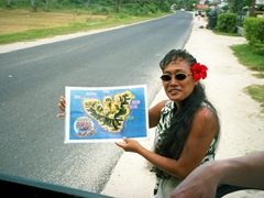 """Our guide shows us our route on our """"Inner Island Safari Tour""""; Moorea"""