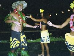 Polynesian dancers at a restaurant in Moorea