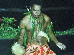Demonstration on how to husk a coconut