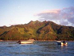 Pretty view of Moorea (as seen from our motu)