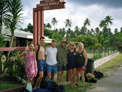 Waiting for our ride to Moorea's Beachcomber Resort for our daily SCUBA session