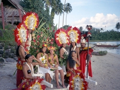 Photo with our wedding helpers; Tiki Village