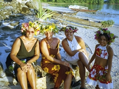 Our Tahitian wedding became a reality because of this wonderful lady! Judy looking lovely with Mov and Turia; Tiki Village