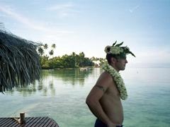 Robby admiring the view; Tiki Village