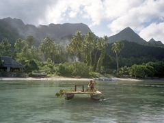 Our parting view of lovely Tiki Village as we get rowed back to our motu; Moorea