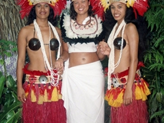 Becky's Tahitian helpers getting her ready for the wedding ceremony