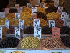 A wide range of olives for sale; Egyptian Bazaar