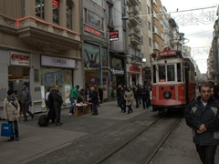 Pedestrians make way for the Taksim-Tünel Nostalgia Tram