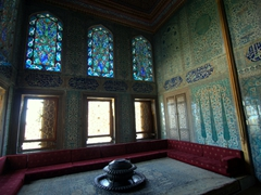 The Twin Kiosk/Apartments of the Crown Prince are famous for the stained glass windows and intricate tiled walls