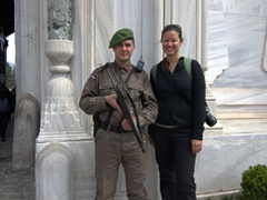 Becky standing next to a Topkapi Palace guard
